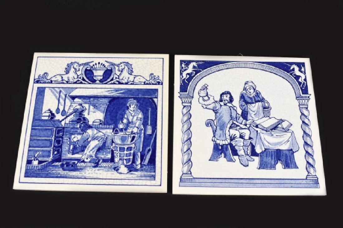 (2) Delft Holland English Pill Tiles B.W.