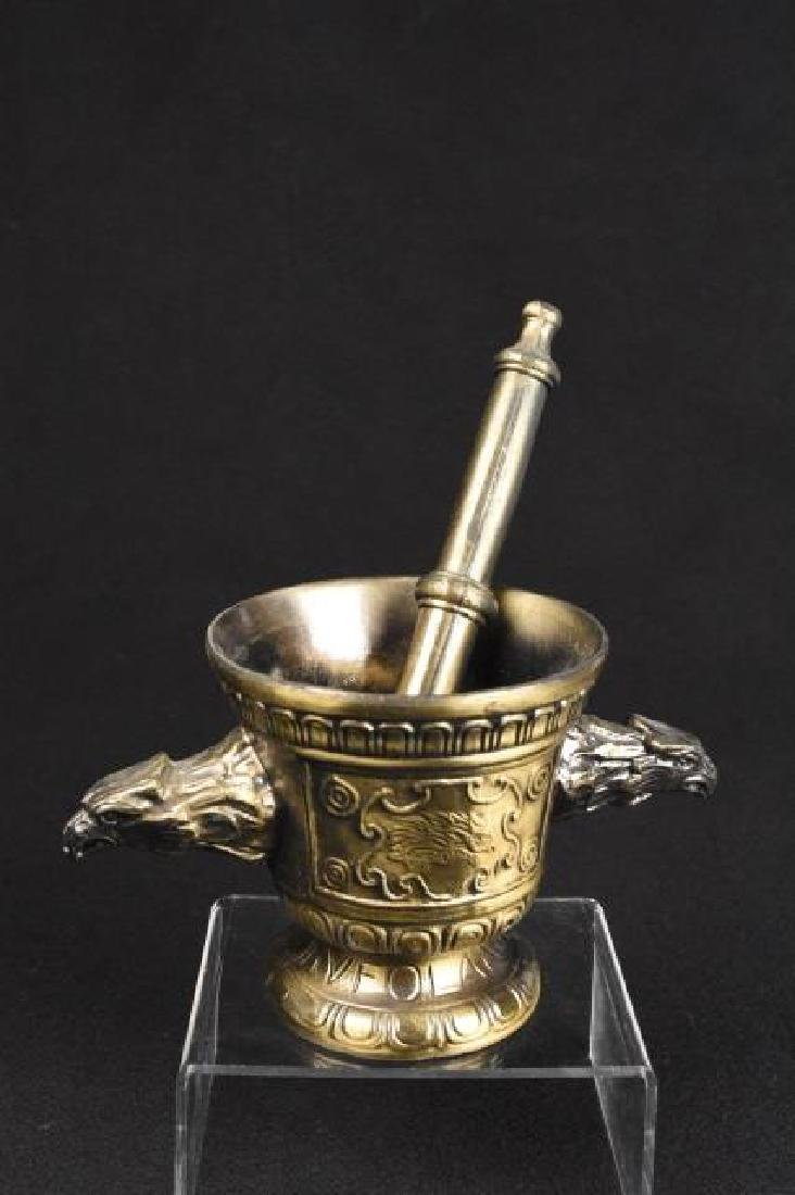 Bronze Mortar and Pestle with Eagle