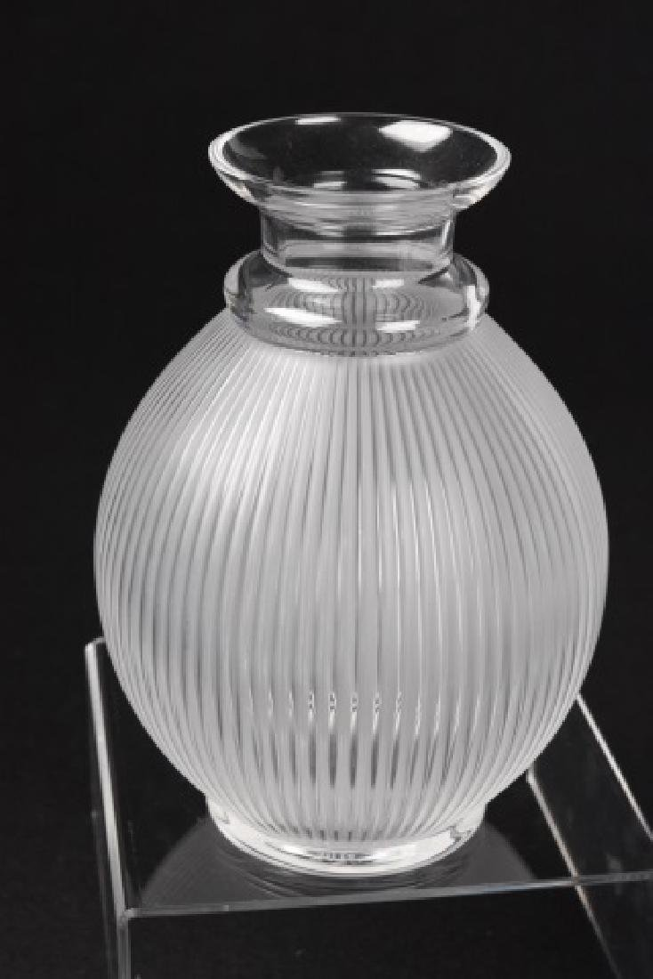 Lalique Crystal Ribbed Vase