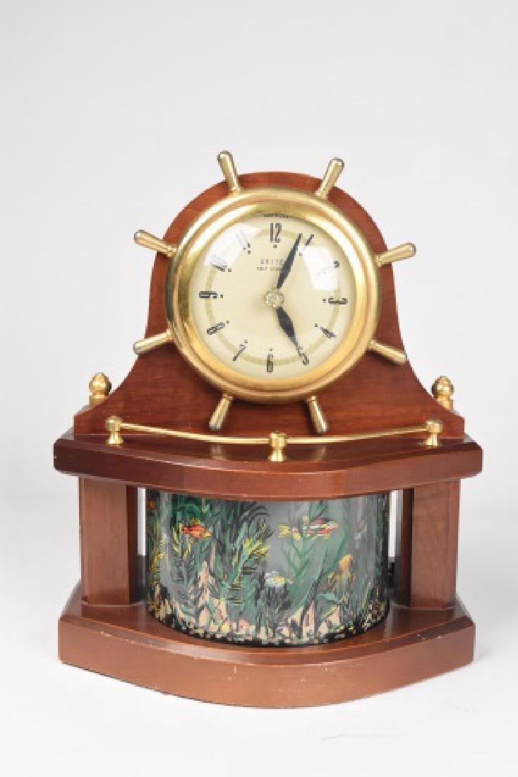 1950's United Ships Wheel Aquarium clock, WORKS!