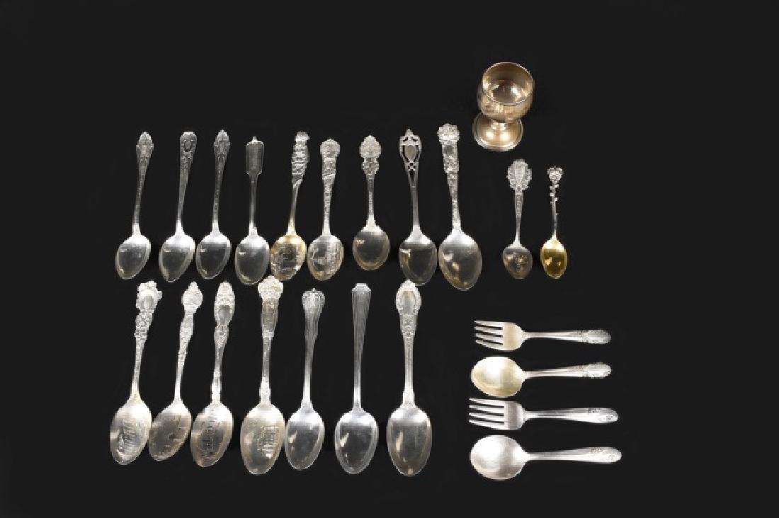Sterling souvenir spoon collection & other