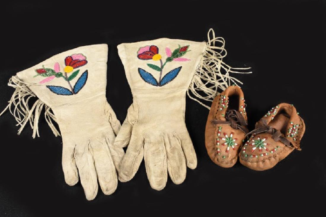 Hand Beaded Indian Moccasins and Gloves