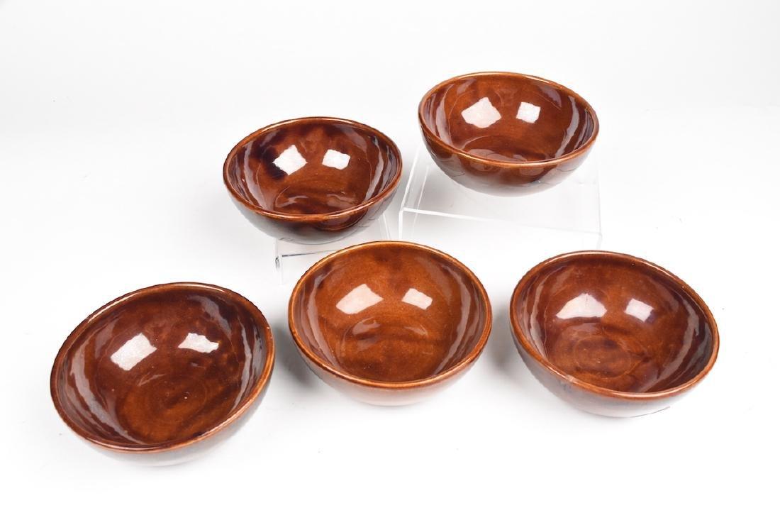 Rare Set of Five Roycroft Pottery Bowls