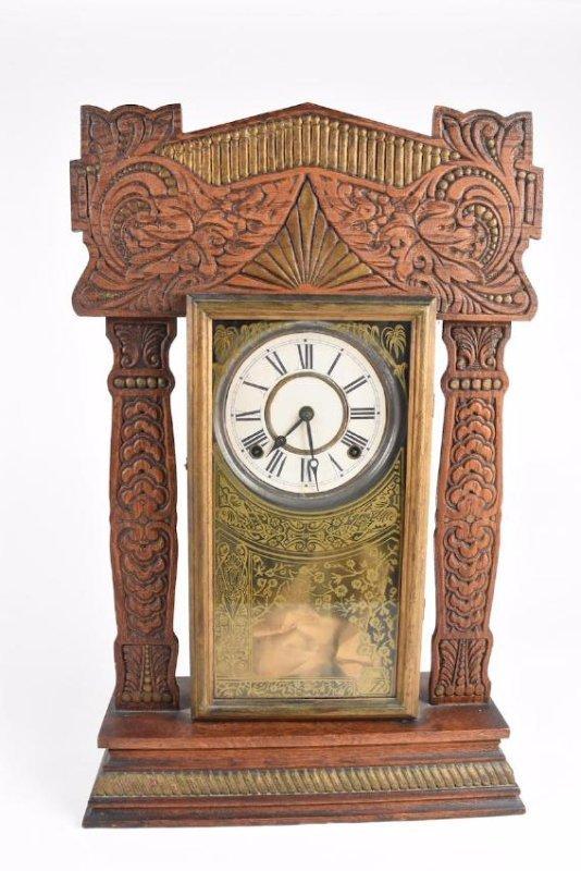Wood Carved Gingerbread Ingraham Mantle Clock