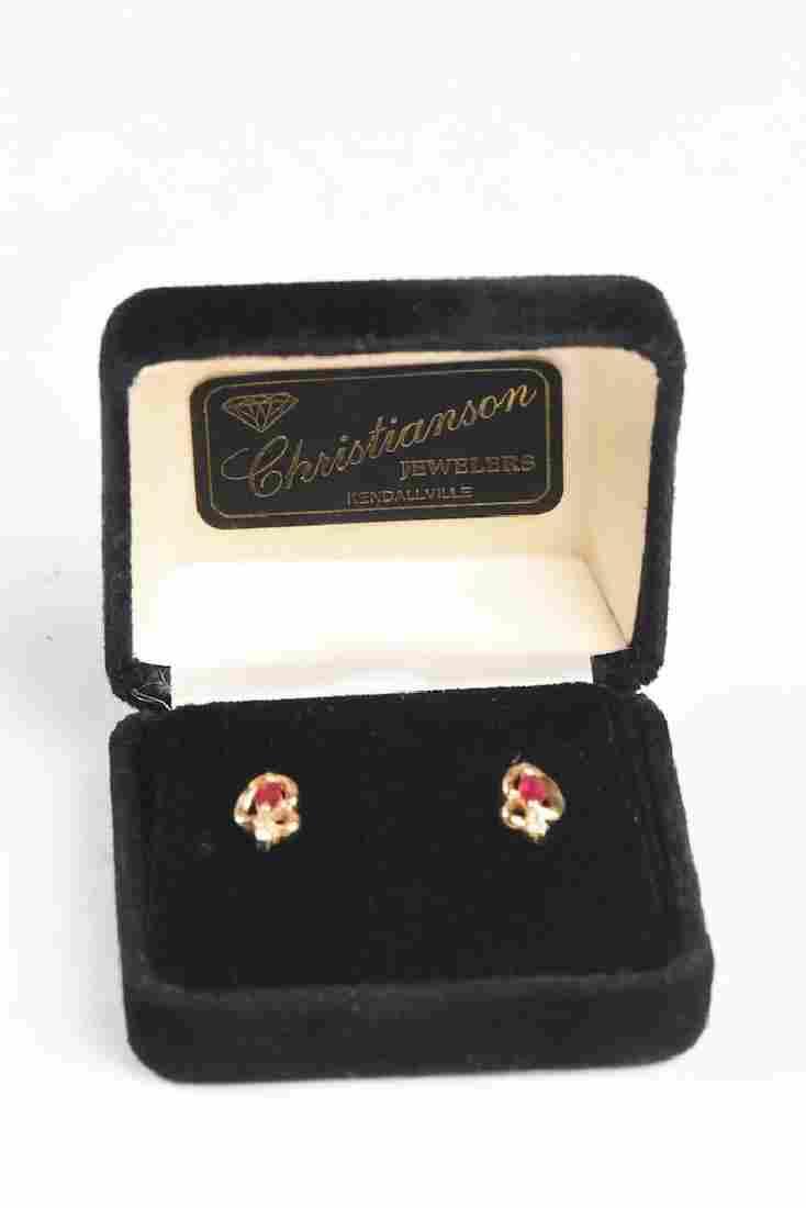 14K Gold Ruby and Diamond Earrings