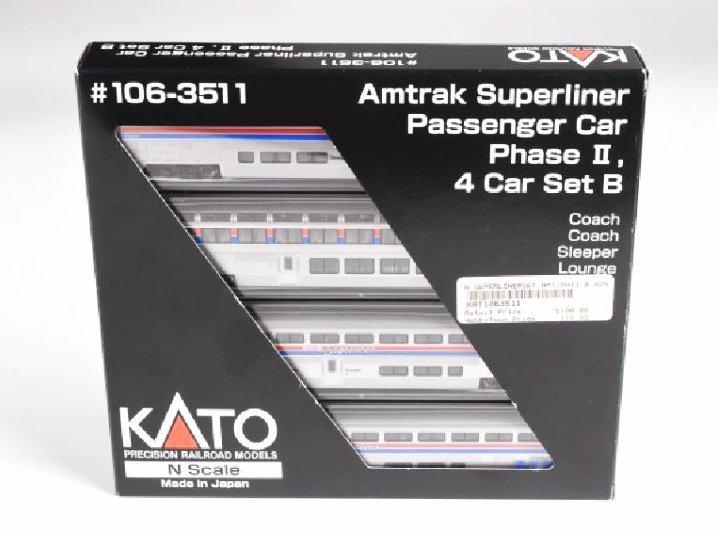 Kato Amtrak Superliner 4 Car Set B N Scale