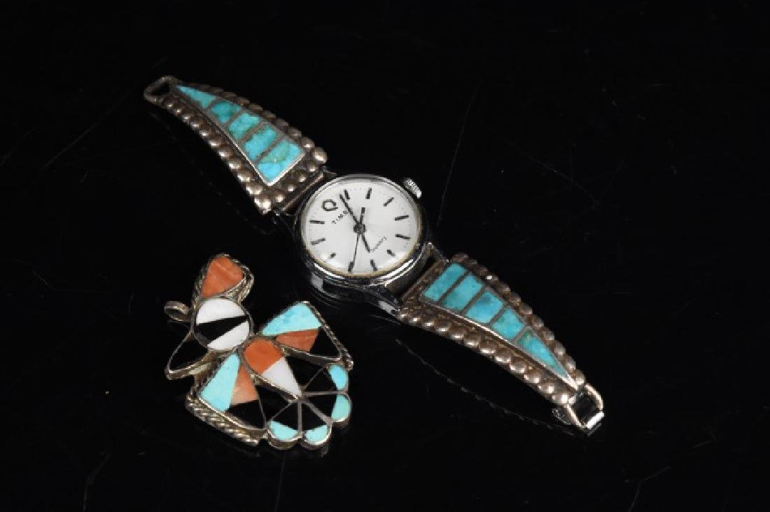 Timex Watch with Silver and Turquoise Band