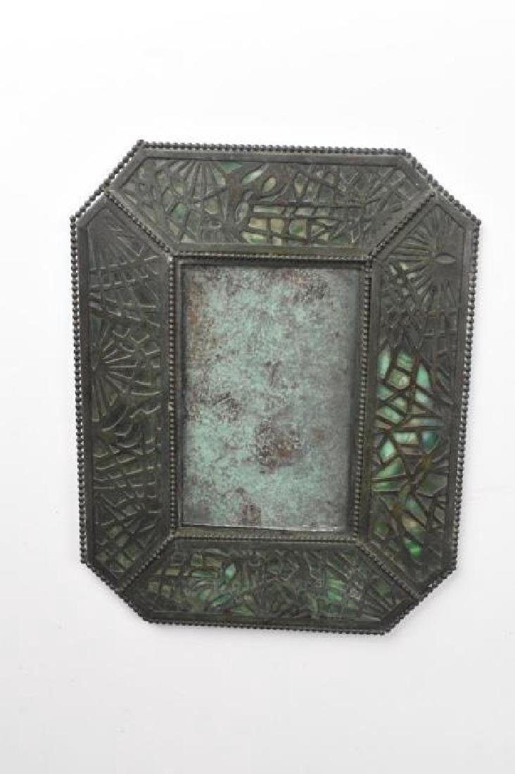 Picture Frame Bronze over Green Glass, Tiffany?