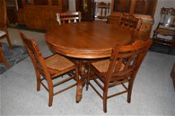 Antique Pedestal Solid Oak Table  6 Cane Chairs