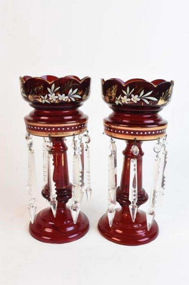 Pair Cranberry Glass & Enamel Mantle Lusters