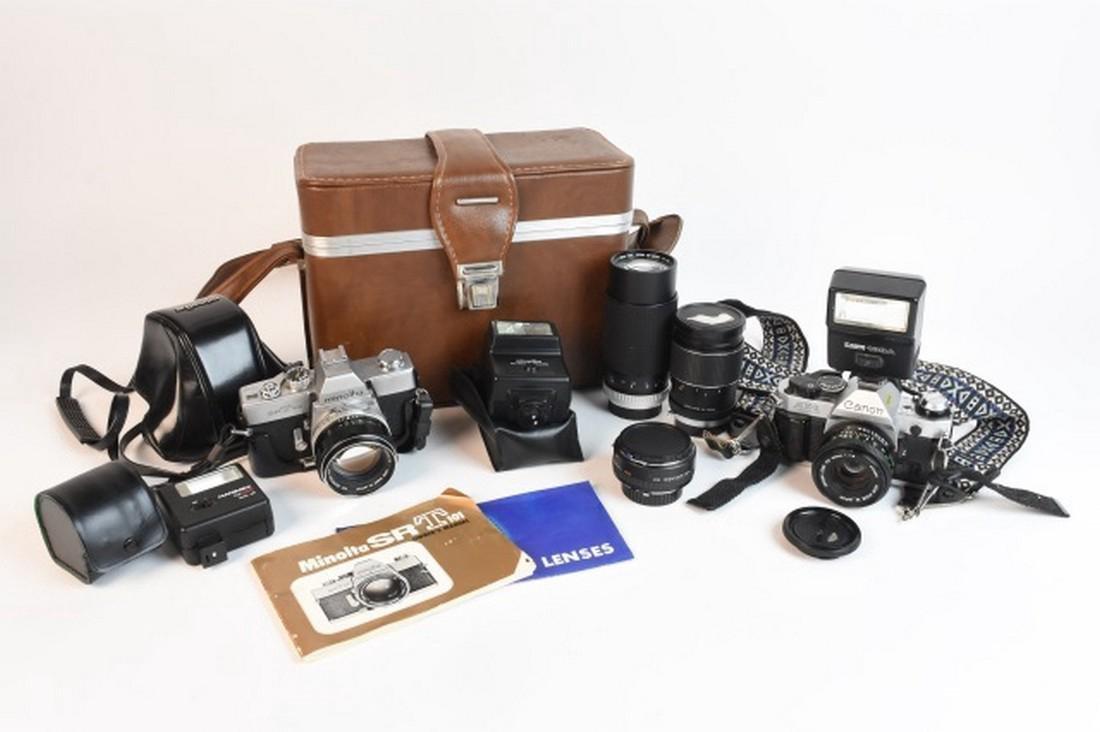 (2) Canon, Minolta Cameras, Lens & Flashes