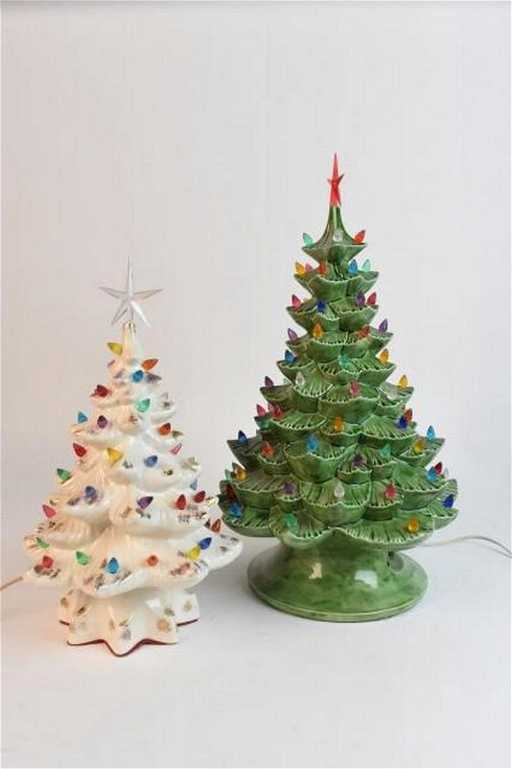 2 Vintage Ceramic Christmas Trees With Lights