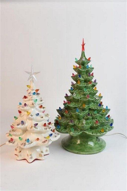 Vintage Ceramic Christmas Tree.2 Vintage Ceramic Christmas Trees With Lights