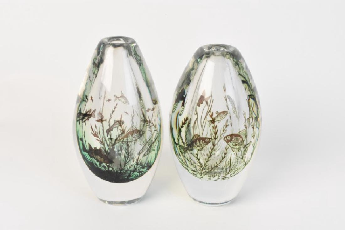 Pair of Glass Orrefors Fish Vases; signed