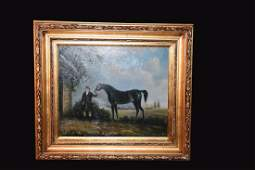 Equestrian Oil Painting by T. Filland; SLR