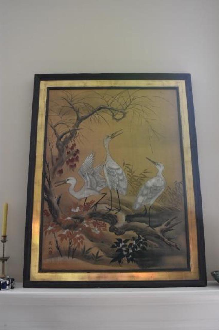 Large Oriental Fu-San Original Temprea Painting