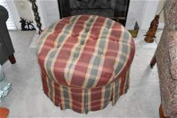 Plaid Tufted Round Skirted Upholstered Ottoman
