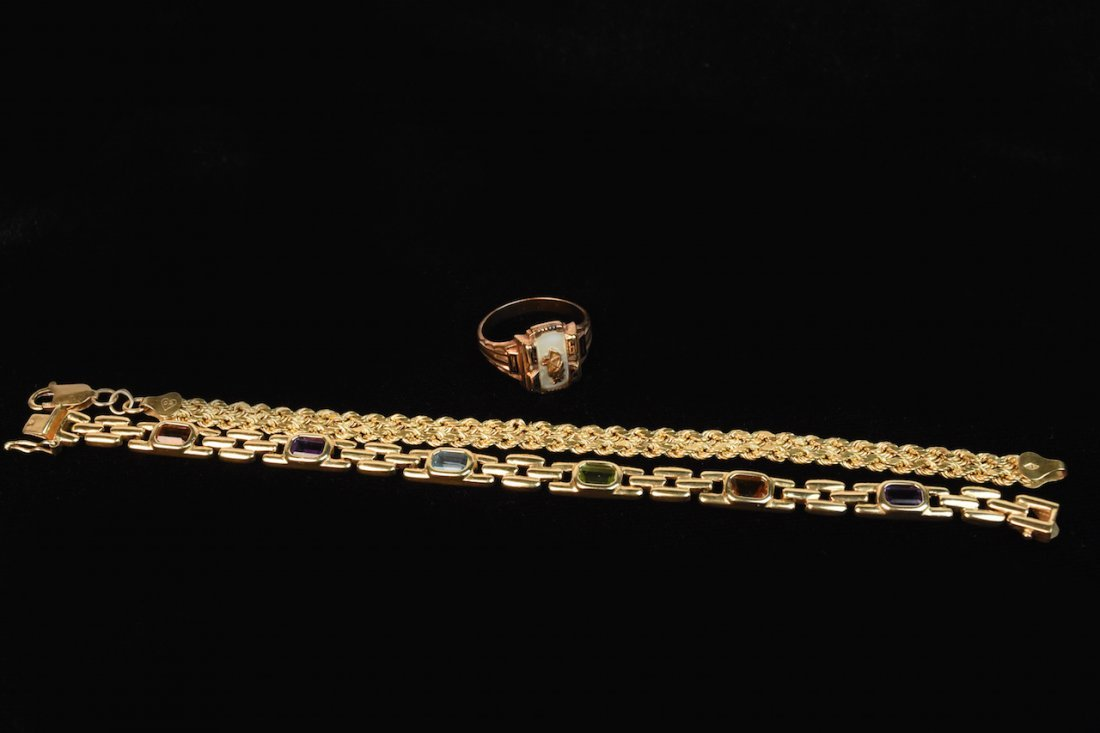 (2) 14K Gold Bracelets & 10K Gold Ring