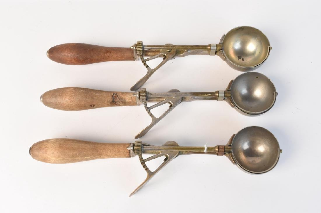 (3) Gilchrist's Wood Handle Ice Cream Scoops