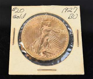 1927 $20 St Gaudens double eagle gold coin