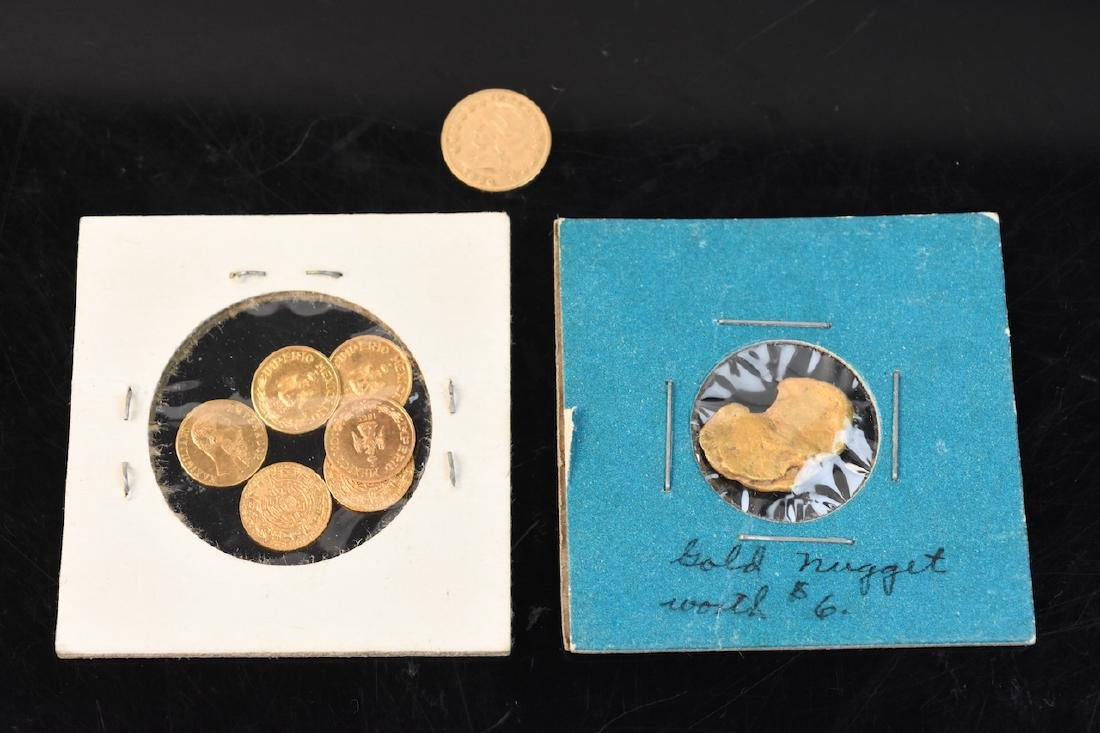 Small Gold Nugget & Several Gold Coins