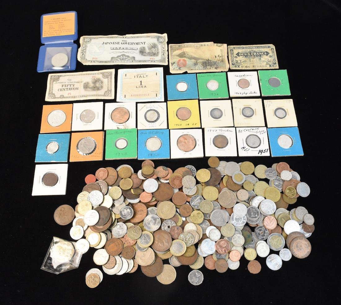 Foreign Coins & Currency Lot