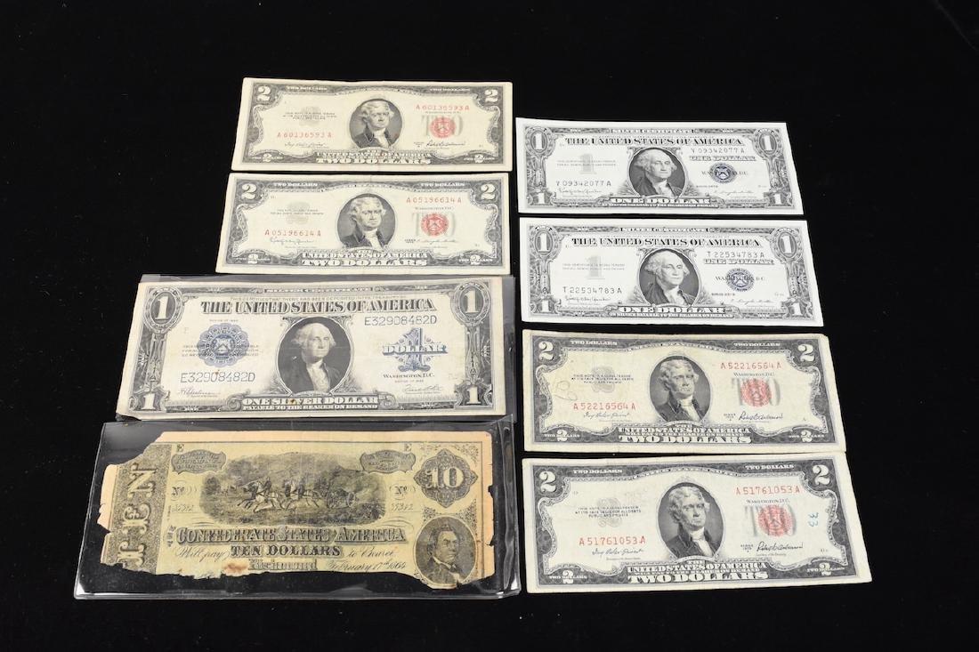 (4) Red Seal $2 Bills, Silver Certificates, More