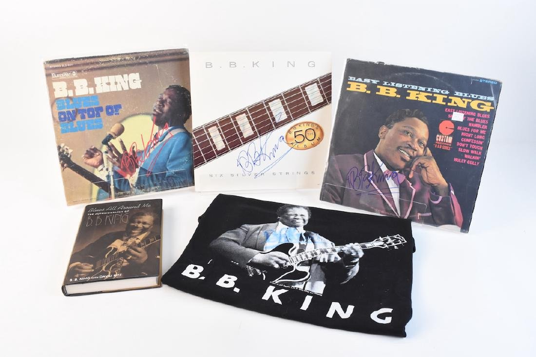 (3) Autographed BB King Records and Book