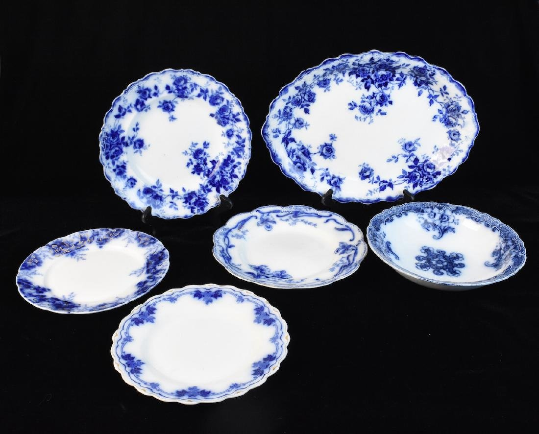 (6) Flow Blue Porcelain Serving Dishes/ Plates