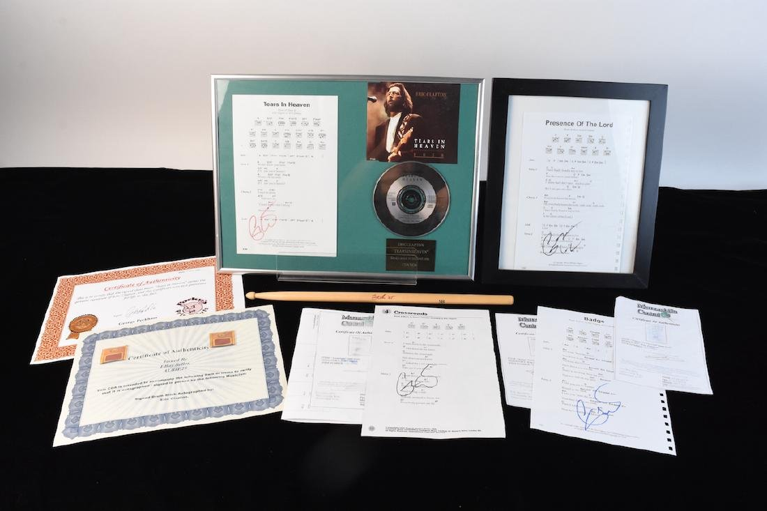 Eric Clapton Signed Sheet Music and Drum Stick