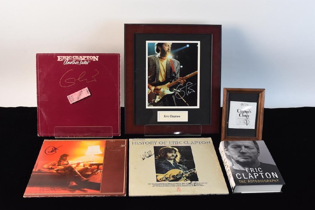 Eric Clapton Signed Albums, Book & Picture