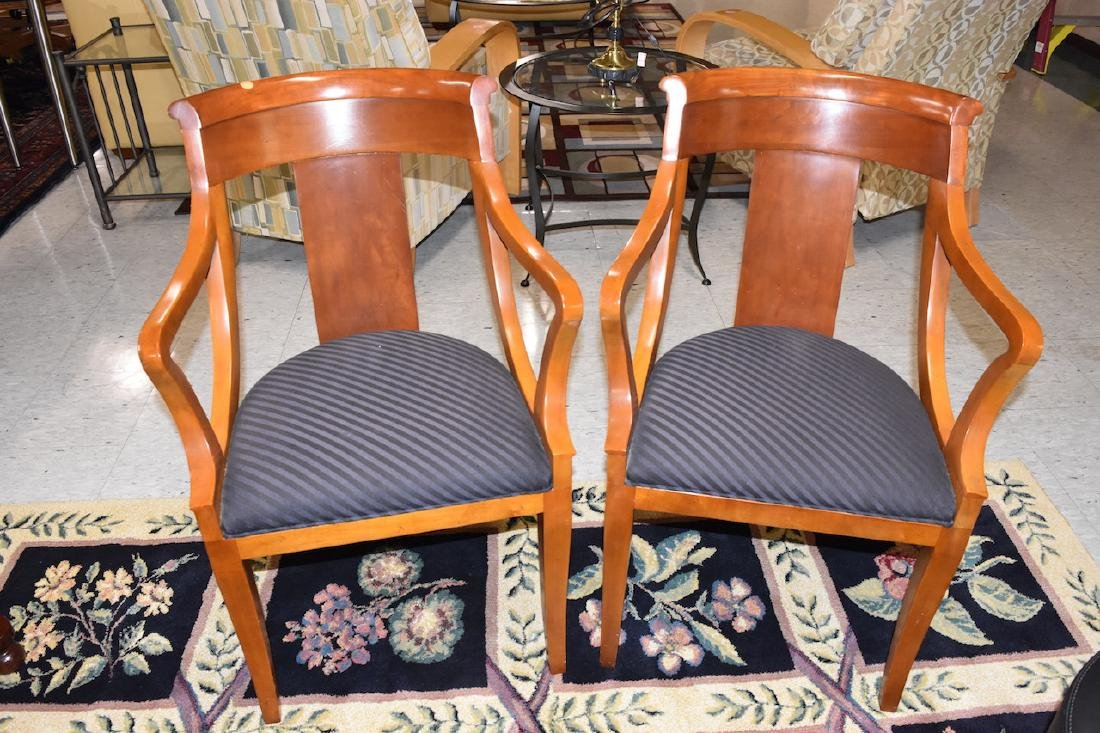 (2) Padded Baker Furniture Solid Wood Chairs