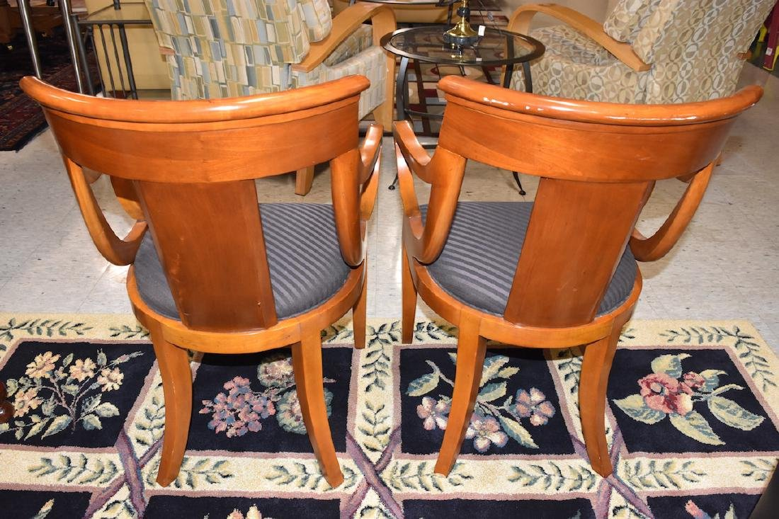 (2) Padded Baker Furniture Solid Wood Chairs - 3
