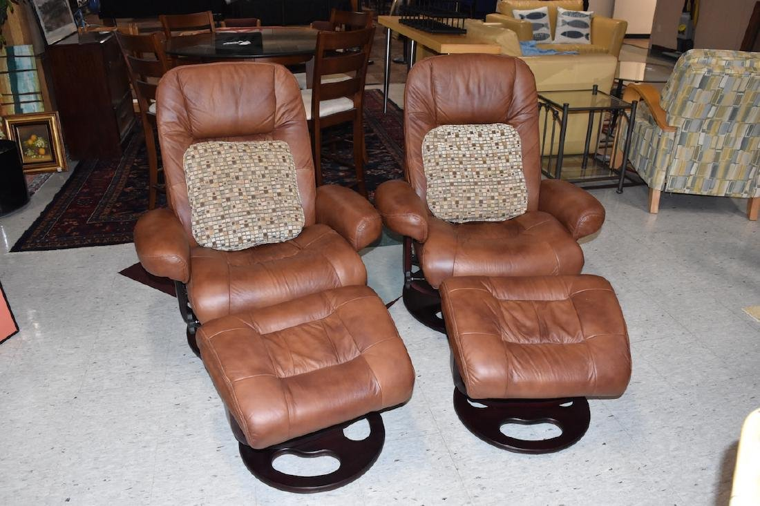 Pair of Lane Swivel Arm Chairs With Ottoman