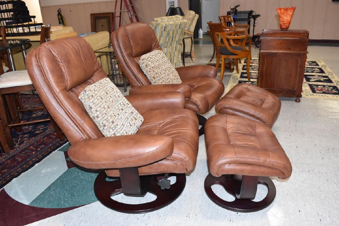 Pair of Lane Swivel Arm Chairs With Ottoman - 2