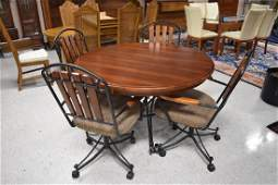 Wood  Iron Round Table With Rolling Chairs