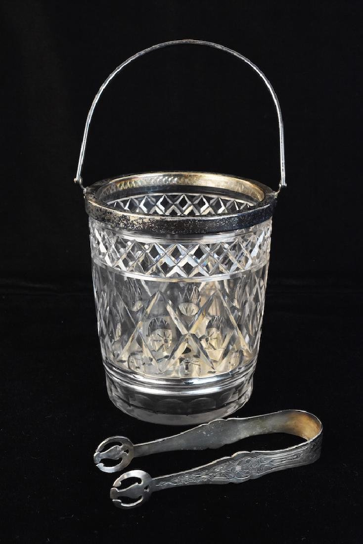 Cut Glass Ice Bucket W/ Silver Plated Rim
