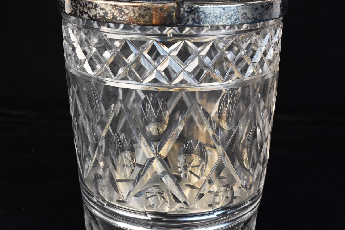 Cut Glass Ice Bucket W/ Silver Plated Rim - 3