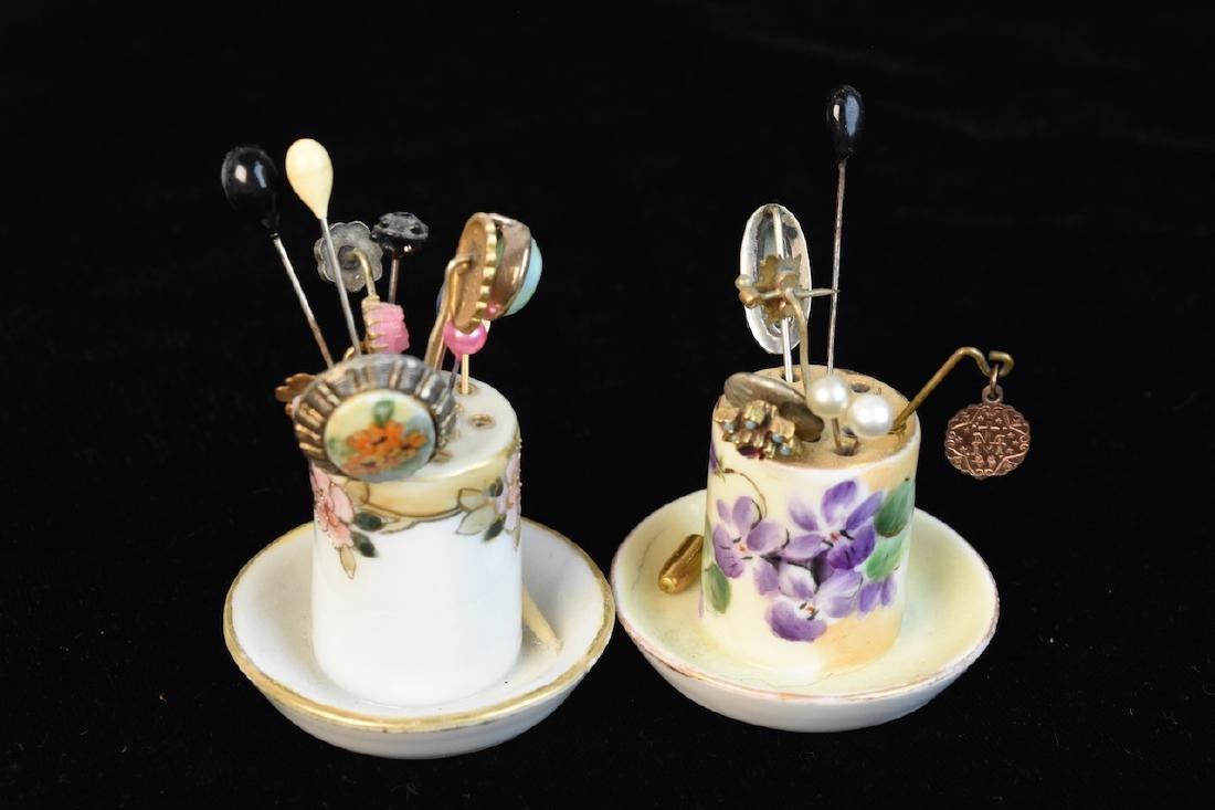 Hat Pin Holders, Vases, Mini Tea Set, Button Hooks + - 2
