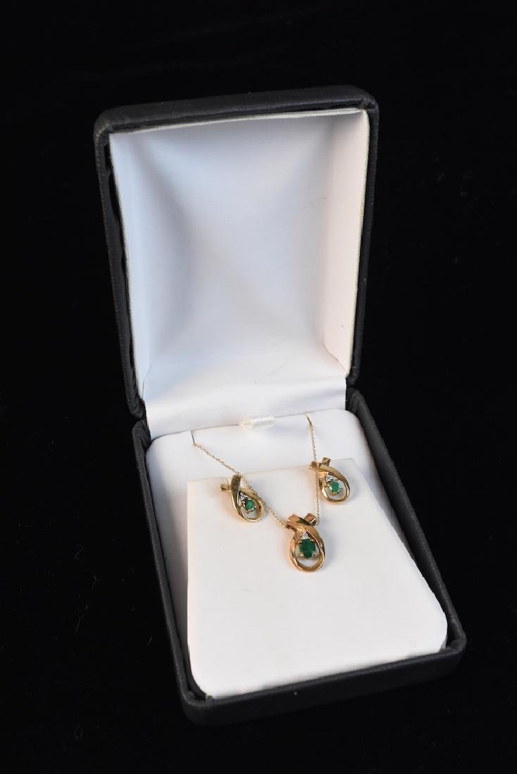 Emerald & Diamond Gold Necklace & Earrings
