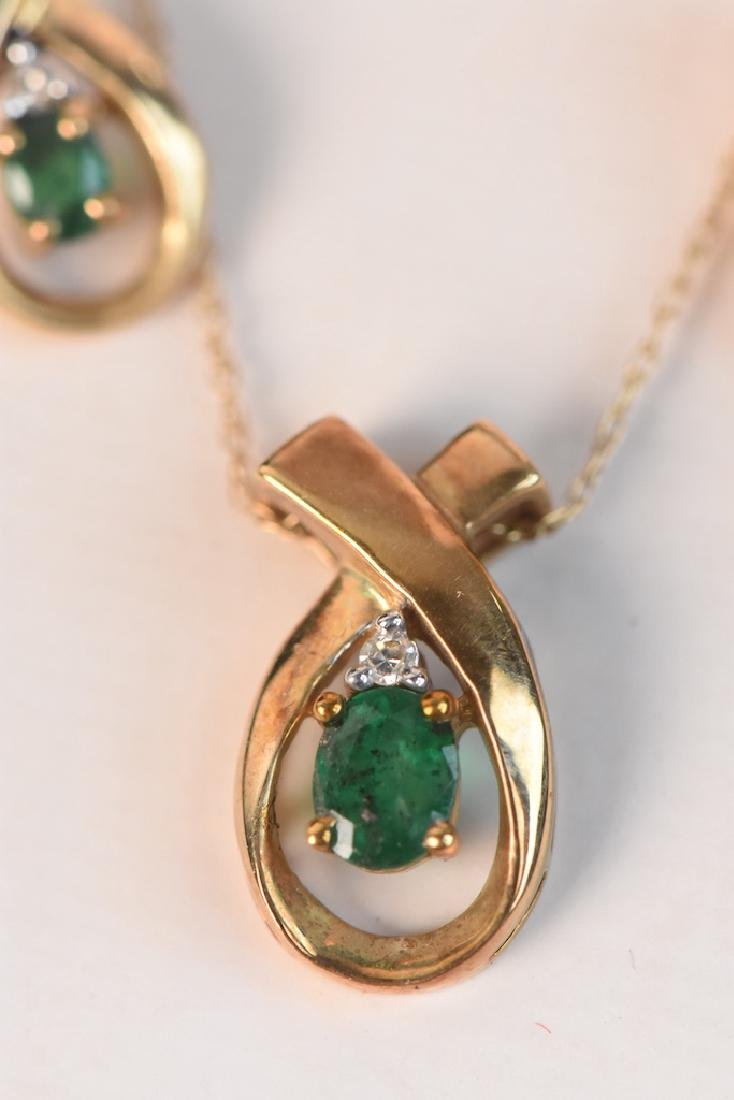 Emerald & Diamond Gold Necklace & Earrings - 2
