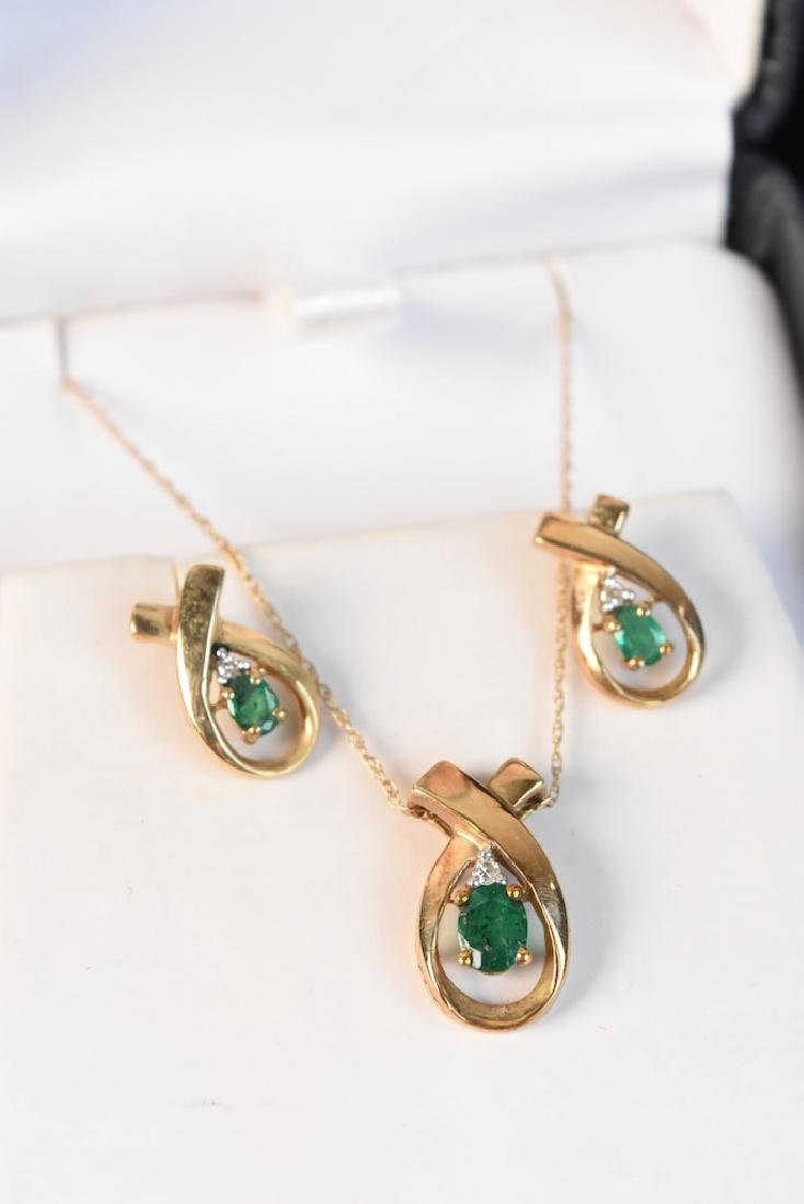 Emerald & Diamond Gold Necklace & Earrings - 3