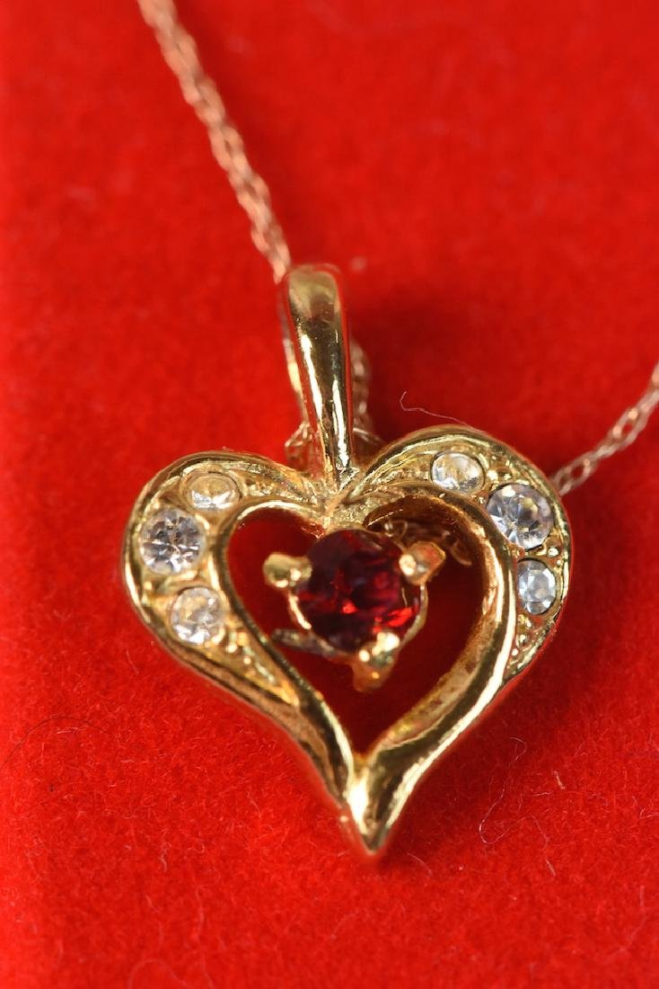 10K Gold Necklace With Heart Pendant - 3