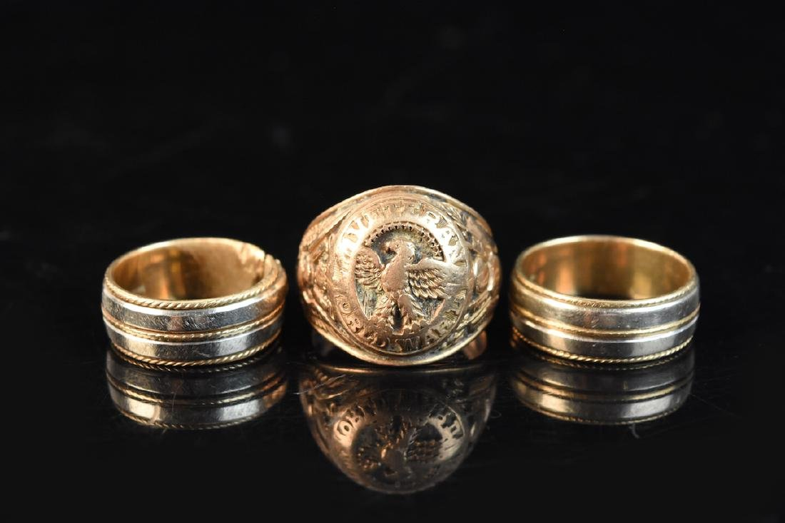 (2) Gold Bands (1) Gold WWII Veteran Ring