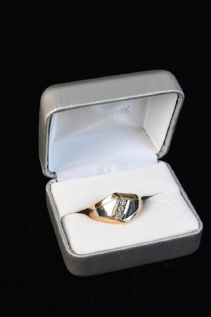 10K Two-Tone Men's Ring With (3) Diamonds