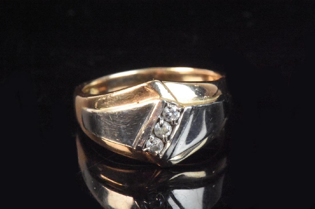 10K Two-Tone Men's Ring With (3) Diamonds - 2