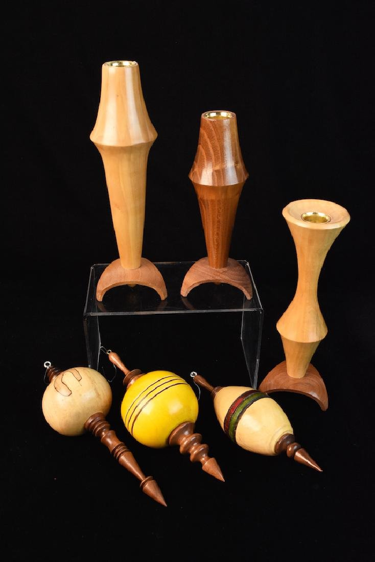 Turned Wood Candle Holders & Ornaments