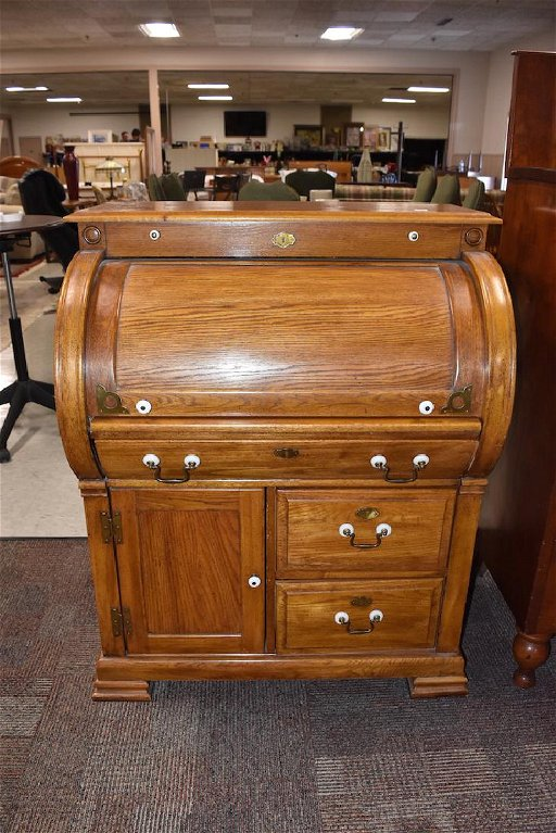 Antique Oak Riverside Roll Top Secretary Desk Nov 04 2017