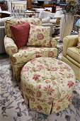 Floral Accent Chair and Matching Ottoman