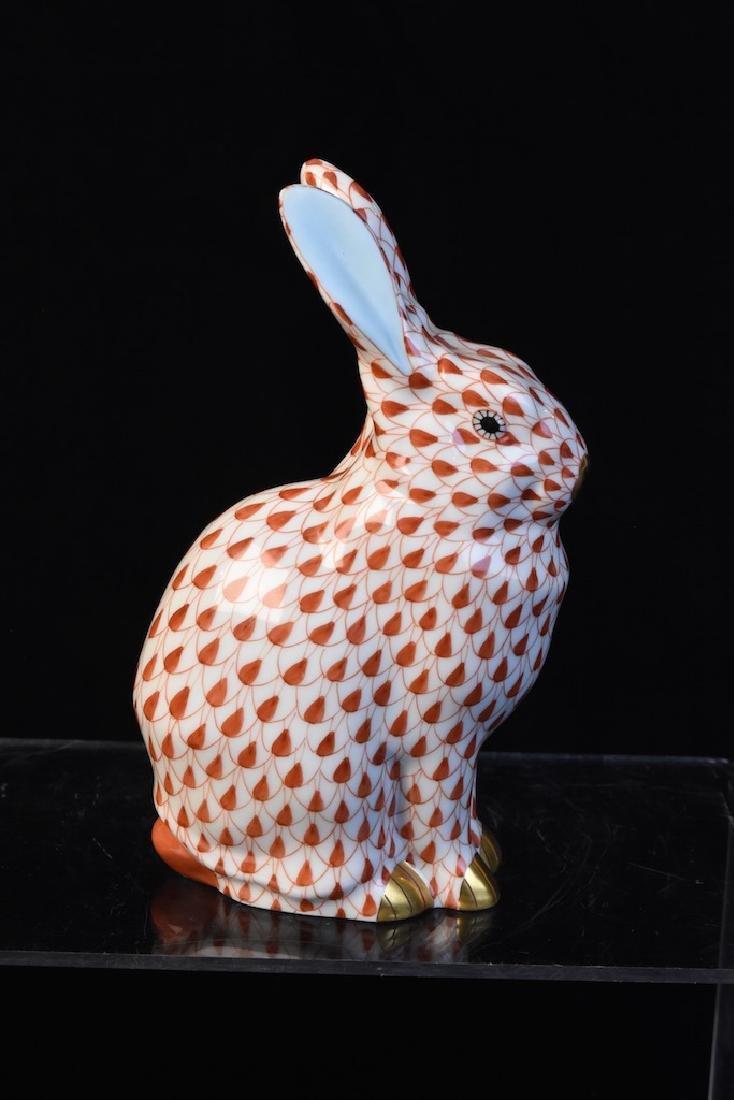 Herend Fishnet Porcelain Rabbit Figurine